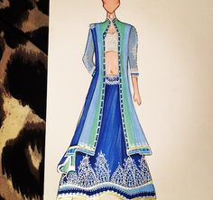Blues hues! Love this lengha featuring a blue ombre jacket!