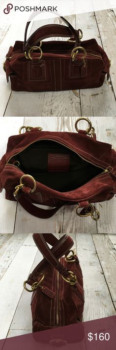 """Coach Burgundy Wine Suede Soho Satchel Beautiful Authentic Coach Burgundy Wine Suede Soho Satchel Handbag #F10061.  Excellent pre-loved condition  * SIGNATURE COACH HANGTAG  * SOLID GOLD HARDWARE  * 2 SIDE TURNLOCK POCKET  * ZIPPED UP MAIN COMPARTMENT  * SPACIOUS MAIN COMPARTMENT  * INTERIOR SIDE SLIP POCKETS  * INTERIOR SIDE ZIP COMPARTMENT  * DOUBLE ROUND HANDLES WITH 9"""" DROP * APPROX MEASUREMENTS : 14"""" (L) 7"""" (H) 5"""" (W) Coach Bags Satchels"""