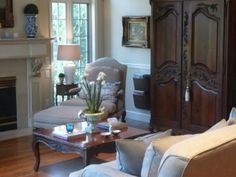 Your Enchanted Homes - The Enchanted Home A wonderful way to use an antique armoire and chaise in a room!
