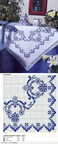 copritavolo bluette cornflower blue tablecloth (I would love to make this but... As big as it is I doubt if I could ever finish it)cj