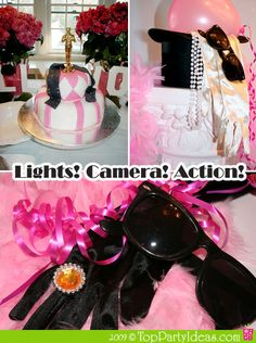 Hollywood Academy Awards party with Oscar cake and film strip made out of sugar paste, Oscar table decor, Hollywood signage, Pink Boa and black sun glasses