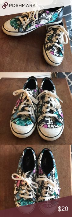 Coach canvas printed sneaks Size 9. Gently worn. Coach sneaks! Coach Shoes Sneakers