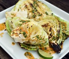 Grilled Cabbage with Cilantro Lime Sauce