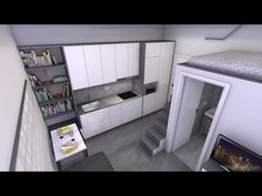 Tiny apartment 16m2 (pure black and white) - YouTube