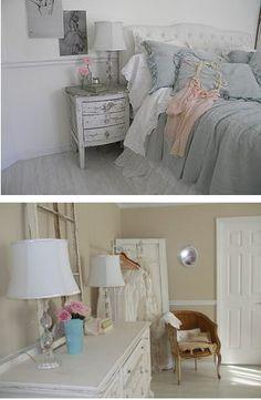 Shabby chic bedroom aqua & pink