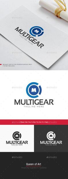Multi Gear Logo: Letter Logo Design Template by Queen_Of_Art. Logo Simple, Unique Logo, Modern Logo, Logo Design Template, Logo Templates, Two Letter Logo, Focus Logo, Plant Logos, Photo Repair