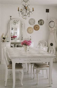 Harlequin pattern on tabletop. the clock faces, the clock, candelier, the mirror/vanity  Love everything!