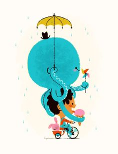 Artist Leo Espinosa at Illustration Division Bike riding with an octopus while eating ice cream in the rain.