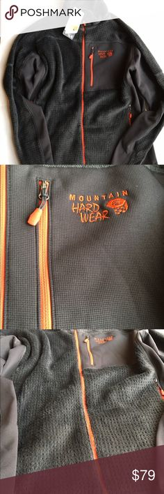 Mountain hardware monkey grid hoodless jacket men's Brand new with tags Dual hem draw cords adjust easily to seal in warmth Thumb loops increase coverage and keeps sleeves from riding up Dual zip handwarmer pockets Mountain Hard Wear Jackets & Coats