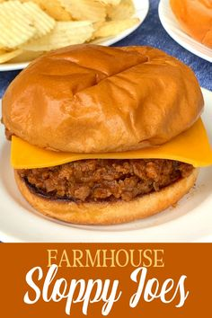 Only a few ingredients mix together and simmer with the ground beef all day to make mouth-watering Farmhouse Crock Pot Sloppy Joes Sandwiches. Ground beef with tomato sauce, ketchup, onion and a few flavorings like Worcestershire sauce, chili powder, pepper and garlic make super easy sloppy joe sandwiches with a delicious sauce! The BEST way to serve Sloppy Joes is on a buttered and browned brioche bun with a thick slice of sharp cheddar cheese!