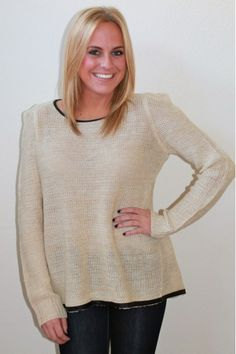 Ivory and Gold Knit Sweater $49.00  www.herringstonesboutique.com