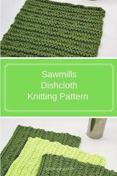 Sawmills dishcloth/washcloth knitting pattern has big lines, small lines, broken lines…so much great detail! All done with quick easy knit and purl stitches. Dishcloth Knitting Patterns, Knitting Stitches, Knit Patterns, Cross Stitch Patterns, Yarn Stash, Yarn Needle, Knitted Washcloths, Knitted Hats, How To Purl Knit
