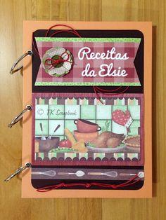 Caderno de receitas em scrapbook (visão geral da decoração)
