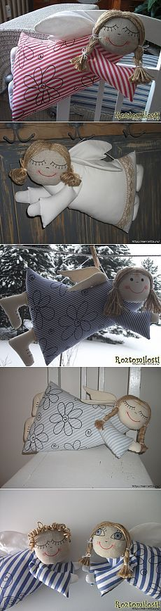 "Подушки ангелы ""святые Валентины"") Felt Christmas, Christmas Angels, Christmas Crafts, Fabric Ornaments, Angel Ornaments, Easy Hobbies, Handmade Angels, Angel Crafts, Kids Pillows"