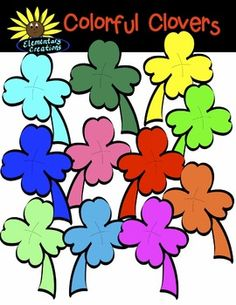 These are 12 colorful clovers plus a BW for a total of 13 clovers that can be used for any activity of project this month.  All graphics are saved in a PNG format and have a high resolution.  You can use my graphics for personal or commercial use.  If you distribute my clipart in any project that you do please secure it in a PDF file.