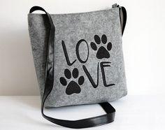 FELT CROSSBODY BAG,Summer sale,Felt crossbody bag, Homemade, Women felt bag, Felt shoulder bag, Embroidery, Cat design bag by BPStudioDesign on Etsy