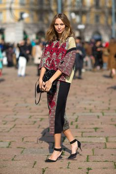 milano fashion week F/W 14- street style - printed outfit - ethnic style