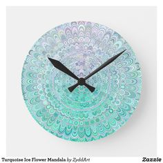 Turquoise Ice Flower Mandala Large Clock #WallDecor #WallClock #Mandala #ice #flower #floral #FloralMandala #clock #HomeDecor #decor #art #decoration #HomeDecoration #WallDesign #turquoise #winter #home #HomeDesign