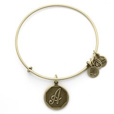 Alex and Ani Initial A Charm Bangle $28 Personal • Timeless • Distinctive Personalize your jewelry with initials. Choose your own or give a personal gift to someone you love. Each charm is beautifully stamped with script letters creating an elegant and classic look. Personal • Timeless • Distinctive