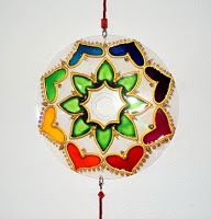 Tutorial de Artesanías: Mandalas con CDs--I like this idea of recycling CD's into mandalas. You scrape the shiny side with steel wool to remove the silver coating, then put CD over template and use dimensional paints, acrylics or glass paints. Use Google translate to get full instructions.