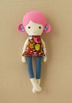 Pink Haired Fabric Doll Rag Doll in Owl Print Dress.