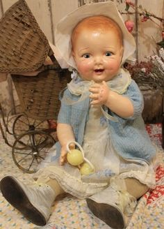 "Huge 26"" Old Antique Composition and Cloth Baby Doll in Vintage Clothing 