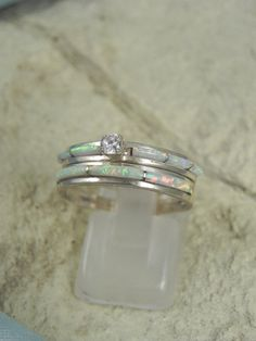 Native+American+Opal+Wedding+Ring+Set+by+hollywoodrings+on+Etsy