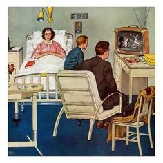 Marmont Hill Baseball in the Hospital Amos Sewell Painting Print on Canvas 48 x 48 Home Decor Wall Decor Paintings and Prints Art Vintage, Photo Vintage, Vintage Images, Vintage Wife, Vintage Style, Illustrations Vintage, Illustration Art, Painting Prints, Canvas Prints