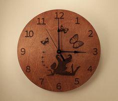 Fairy laser cut clock Butterfly clock Fantasy by BunBunWoodworking