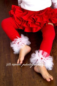 Red tutu leg warmers w/attached white fluff by amysbuttonsandbows, $16.99