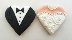 bride and groom heart cookies   by sarah godlove