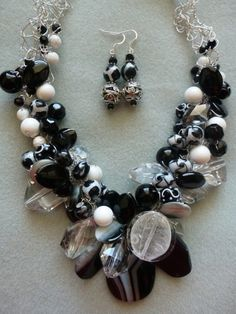 Black/White Pendant/Black/White Bead Necklace Crocheted on Silver Wire