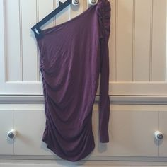 One Sleeve Mauve Top Sides and arm are ruched, barely worn, armpit to bottom is about 19 inches Charlotte Russe Tops Blouses