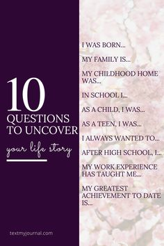 10 Questions to uncover your life story! | Join TextMyJournal in a quest to uncover the beginnings of your life story. Sometimes we just don't know where to start - so let us help!