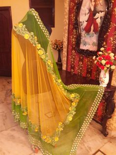 The dupatta of this outfit has 2 options, one with Single color with single border embroidery and Second option with double colour with 2 Borders of embroidery. Beautiful Pakistani Dresses, Pakistani Dresses Casual, Indian Fashion Dresses, Indian Gowns, Pakistani Dress Design, Indian Outfits, Bandhani Dress, Choli Dress, Party Wear Lehenga
