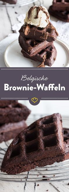 A true chocolate dream: crunchy on the outside and deliciously fudgy on the inside. Served warm with a scoop of vanilla ice cream melt away! The post Chocolate and fudgy: Belgian brownie waffles appeared first on Dessert Park. Food Cakes, Brownie Cupcakes, No Bake Desserts, Dessert Recipes, Brownie Recipes, Cheesecake Recipes, Chocolate Dreams, Chocolate Chocolate, Desert Recipes