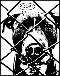 Pitbull Thinks Adopt Painting by Dean Russo - Pitbull Thinks Adopt ...