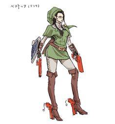 Bayonetta's Link costume artworks   #WiiU #Bayonetta