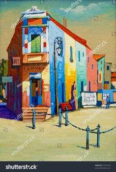 A painting of a street in Argentina,