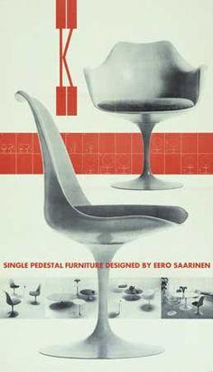 furniture ads Herbert Matter Knoll Single Pedestal Furniture Designed By Eero Saarinen, ca. Eero Saarinen, Saarinen Chair, Furniture Ads, Vintage Furniture, Furniture Design, Furniture Stores, Grey Furniture, Small Furniture, Kitchen Furniture