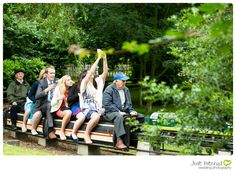 Summer Wedding. Guests taking a cheeky selfie on the miniature railway at Avoncroft Museum (www.avoncroft.org.uk). Photograph by Just Hitched Wedding Photography.