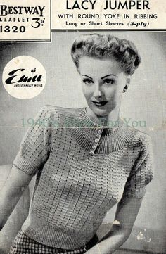 1940's Style For You: free vintage knitting pattern