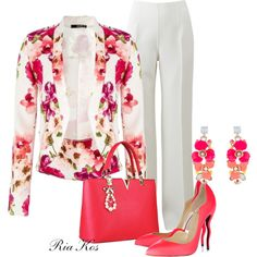 flower blazer by ria-kos on Polyvore featuring polyvore, fashion, style, Michael Kors, Christian Louboutin, Accessorize and clothing