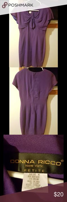 Donna Ricco dark purple plum bow dress (size 4) Donna Ricco petite dark purple plum bow dress in size 4.  No stains or tears Donna Ricco Dresses