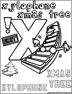 X Xylophone Xmastree Coloring Page