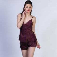 Burgundy Satin Camisole And Short Set