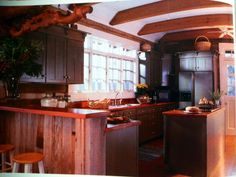 Weathered barnwood and heart pine counter tops and a little  hemlock.