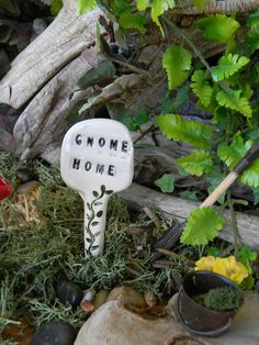 Gnome Home - Garden sign plant marker - Terrarium sign ceramic all glazed via Etsy user EnchantdMushroomLand