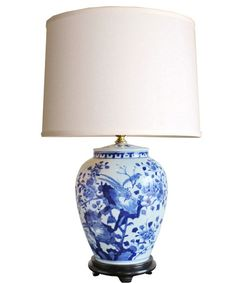 - Blue & White Porcelain Table Lamp - completely hand painted - solid wood base - upgraded brass socket with brass switch, will accept (1) 250 watt bulb - lampshade not included / shown with our Large