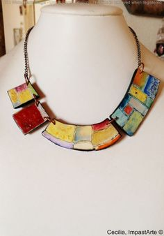 polymer clay necklace unique handmade hand painted by ImpastArte